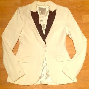 White Blazer- black satin accent
